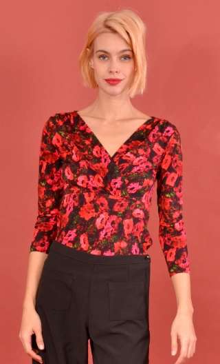 Top Lorelei Bonheur du Jour, Printed jersey top, wrap effect, 3/4 sleeves, sixties.
