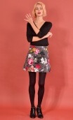 Jupe Gaby n'a pas froid Pivoines Gris, Printed skirt velvet, trapeze and short, zipped back