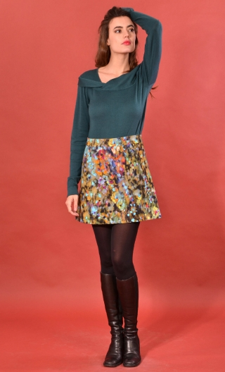 Jupe Gaby n'a pas froid Palette du Peintre, Printed skirt velvet, trapeze and short, zipped back