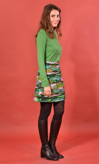 Jupe Camden Utopia, printed skirt trapeze and short, zipped back.