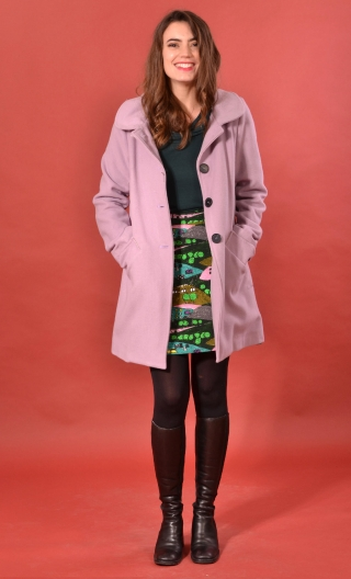 Manteau Boston Velours de Laine Mauve, Plain wool coat, trapeze, short, round neck