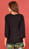 Top Goethe Fraülein Black, plain jersey shirt, fitted, pointed collar, long sleeve with wrist. Seventies!