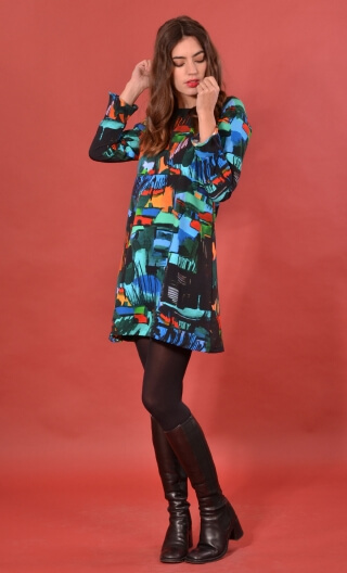 robe Taxi Girl Cottage Turquoise, Printed short dress, long sleeve, trapeze