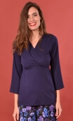 Top Goethe Fraülein Blue navy, plain jersey shirt, fitted, pointed collar, long sleeve with wrist. Seventies!