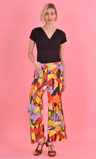 Pantalon GustaveGrand Orchestre, trousers wide and a little short, high waist, flat profile, side zip, patch pockets back and fr