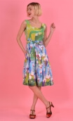 Robe Talons Aiguille Pompadour, printed cotton dress, round neckline, sleeveless, twirling petticoat with large pleats, knee len