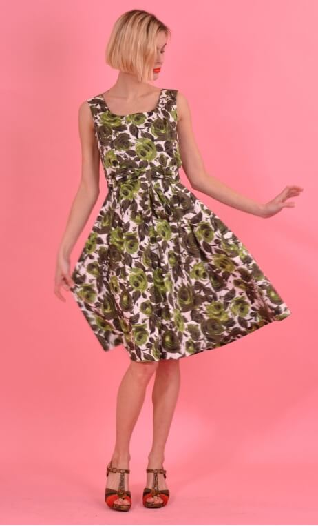 Robe Talons Aiguille Buckingham, printed cotton dress, round neckline, sleeveless, twirling petticoat with large pleats, knee le
