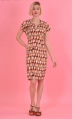 Robe Jeanne Milano Museo, printed knit dress, straight and short sleeves, collar, buttoned strapless