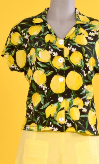 Top School One Citrons, Printed top, small collar, short, kimono sleeve, loose bust, buttoned.