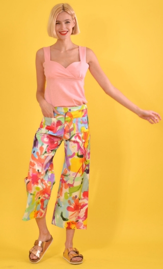 Pantalon Gus Aquarelle, printed trousers, wide and a little short, stretch, flat profile, zip side, patch pockets back and front