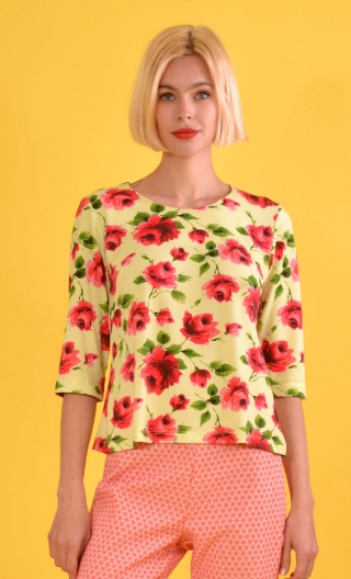Top Izia Rose Arpège, Printed knit top, crew neck, sleeves at elbow