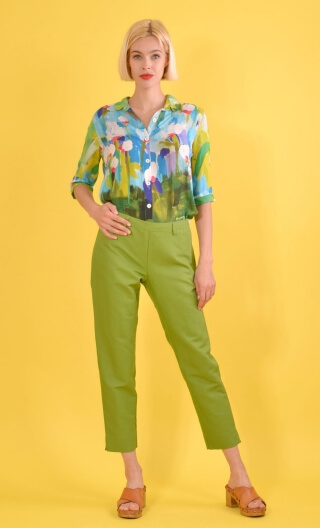 Pantalon BB Panama Green, Slim, plain trousers, ankle length, side zip, Bardot look.