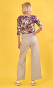 Pantalon Corto Ville Haute grey, Plain trousers, wide, high waist, side zip,sailor pants looking, flat belly