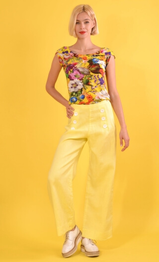 Pantalon Corto Sunshine yellow, Plain trousers, wide, high waist, side zip,sailor pants looking, flat belly