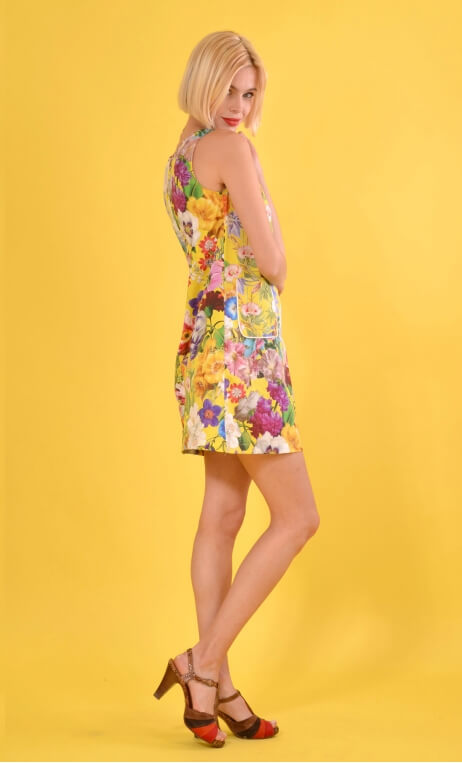 Robe Baby Doll Kitch Jaune, Three-hole printed dress, trapeze, patch pockets, short