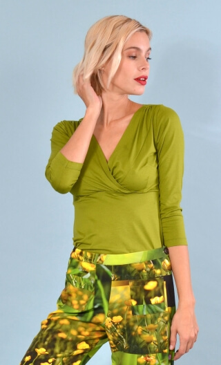 Top Lorelei basic green mosses color, Plain, wrap effect, 3/4 sleeves, sixties.