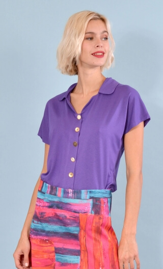 School One purple, Plain jersey top, small collar, short, kimono sleeve, loose bust, silver hammered buttons