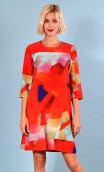 Robe Jess Fragments, Printed stretch dress, trapeze skirt, above the knee, 3/4 sleeve.