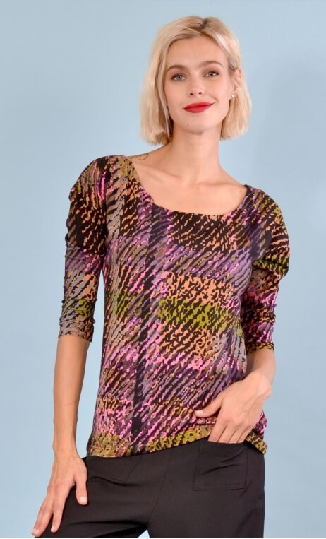Top Fou Masqué Bourrasques print, loose, scoop neck, ¾ sleeve.