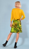 Skirt Mirabelle in Boutons d'Or print, trapeze, just above the knee, zipped back.