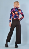 Chemise Abbey Road Crazy Bloom blue & red, Printed jersey shirt, fitted, pointed collar, long sleeve with wrist. Seventies.