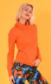 Pull Le Faucon Wool & Silk orange, fine turtleneck sweater, small hip length, Italian merino / cashmere and silk knit