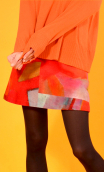 Pull Le Balbuzard Wool & Silk orange, Deconstructed, crew-neck sweater, Italian merino / cashmere and silk knit