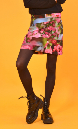 Jupe Gaby n'a pas froid L'Arbre sans nom, Printed skirt velvet, trapeze and short, zipped back
