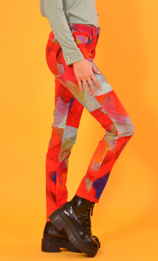 Pantalon Charlie Fragments, printed trousers 5 pockets, stretch, slim, high waist.