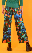 Trousers Gabin Cottage Turquoise print, Wide and slightly short, stretch, flat profile, side zip, back and front patch pockets.