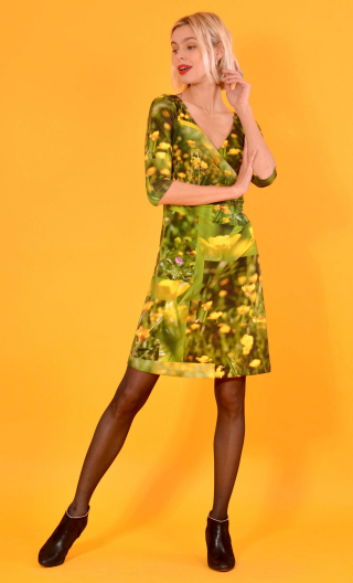 Robe Sarah Boutons d'Or, printed knit dress, crossed heart, adjusted at the top, flares down, sleeve ¾.