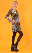 robe Taxi Girl Indiscrétions, Printed short dress, long sleeve, trapeze