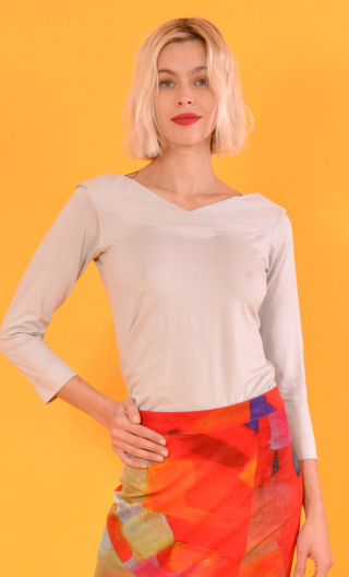 Top Pénélope Basiques Raffinés grey, Top in Plain jersey, glamorous, fitted, draped neckline front, 3/4 sleeves, sixties.
