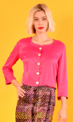 Veste Aîda Merveilleuses Fuschia, Short plain jacket, unlined, ¾ sleeves, feminine