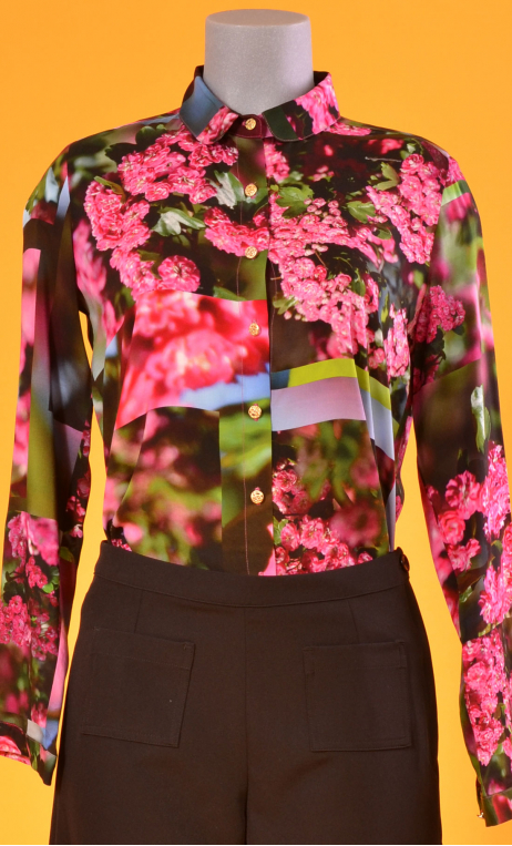 Shirt Elle lisait Sophocle L'Arbre sans Nom, printed long sleeves shirt with cuffs, fluid, mini rounded collar.