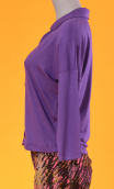 Top Hermione green Violet, Plain jersey top, faux-buttoned, loose, small collar and 3/4 sleeve.