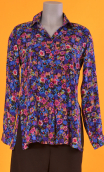 Shirt Utrillo Rainbow, printed tunic long and flared, slit side, buttons at mid-height, long sleeves and cuffs, pointed coll