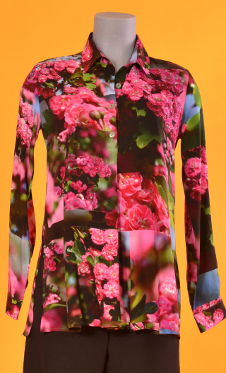 Shirt Utrillo L'Arbre sans Nom, printed tunic long and flared, slit side, buttons at mid-height, long sleeves and cuffs, pointed