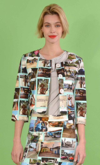 Short printed Cuba jacket, collarless, 3/4 sleeve