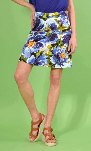 Jupe Libellule Pivoines. Bleu, Trapeze and short , zipped back, you belong to the legend rock & sixties !