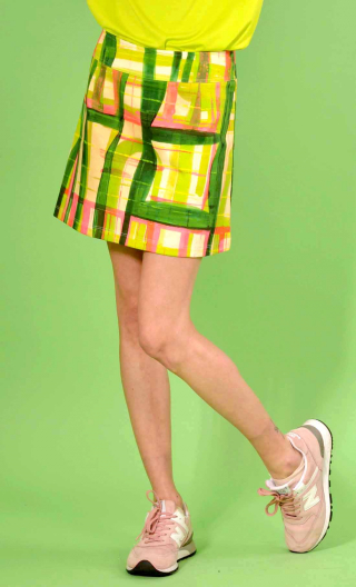 Mini-skirt Mayfair in printed knit Pique-nique, wide belt below the navel