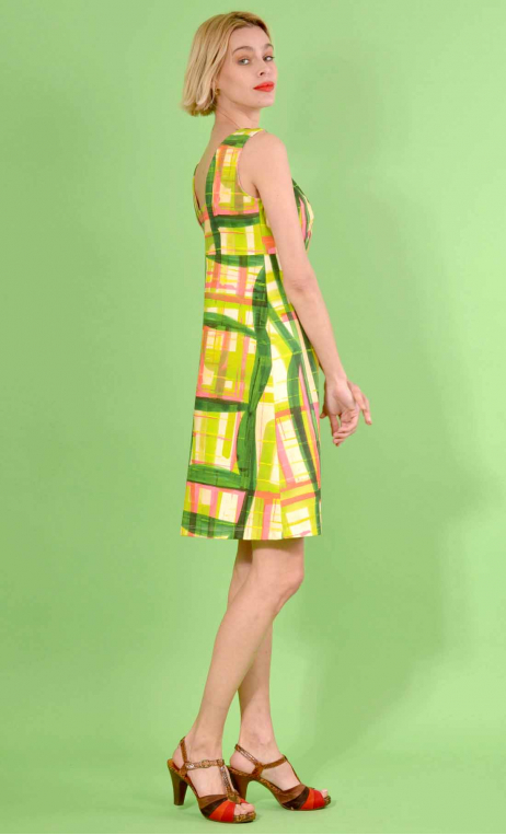 Dress Match Point in print Pique-Nique, fitted, stretch, sleeveless, square neckline