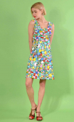Dress Match Point in print Mosaïque, fitted, stretch, sleeveless, square neckline