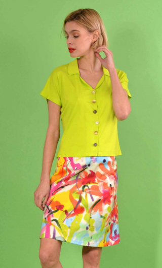 Skirt Mirabelle in Aquarelle flashy print, trapeze, just above the knee, zipped back.