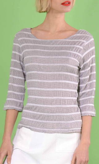 Top L'Entrechat en maille Smokies Gris, Striped knit top, boat neckline, three-quarter sleeves
