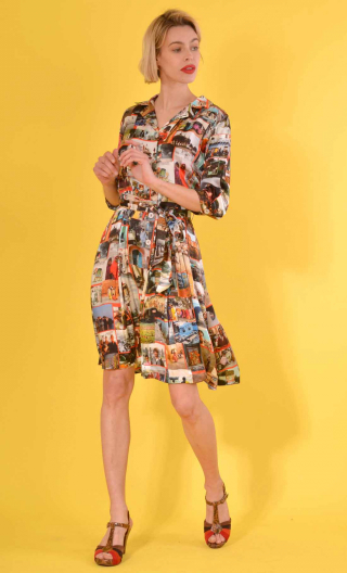 Dress Abigail in Incredible India, Printed viscose,