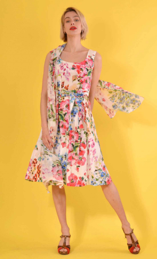 Robe Talons Aiguille Les Jardins de la Reine, printed cotton dress, round neckline, sleeveless, twirling petticoat with large pl