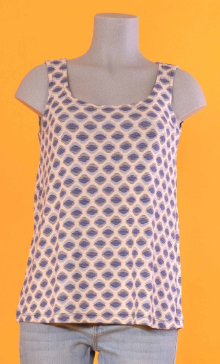 Top Amorgos in Twins bleu, loose, round neckline, sleeveleless