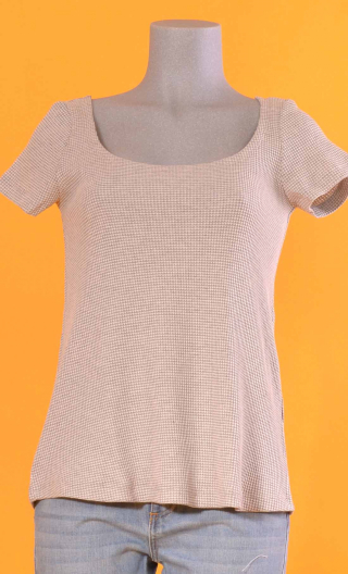 Top Calembour. Vichy gris, jersey loose, short sleeve, round neckline