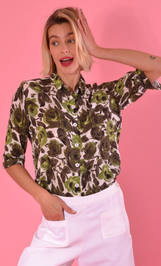 Chemise Alala Buckingham, Printed shirt, three quarter sleeves with cuffs, flowing, mini rounded collar.